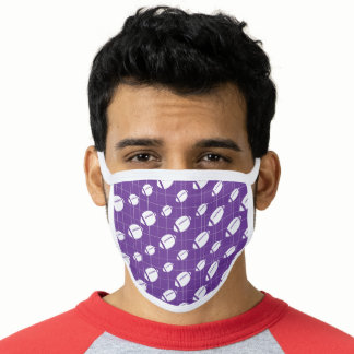 Purple Football Grid Patterned Face Mask
