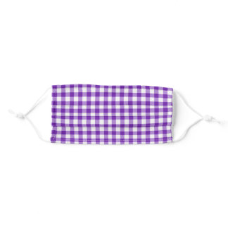 purple gingham adult cloth face mask
