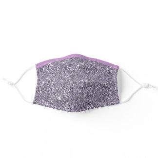 Purple Glitter Bling Stars Faux Silver Pattern Adult Cloth Face Mask