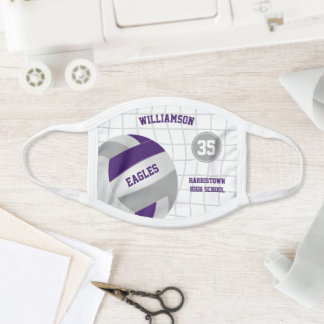 purple gray school club colors name volleyball face mask