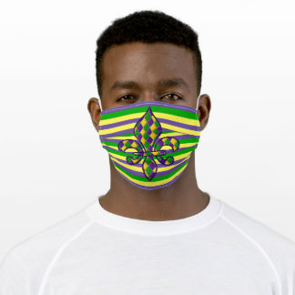 Purple Green Gold Yellow Fleur De Lis Art Stripes Adult Cloth Face Mask
