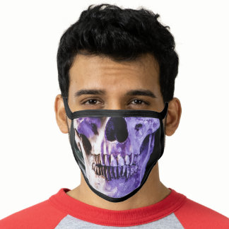 Purple Green Human Skull Face with Great Teeth Face Mask