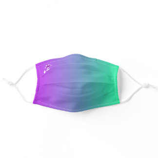 Purple Green Rainbow Ombre Color Gradient Bicolor Adult Cloth Face Mask