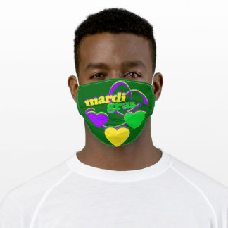 Purple Green Yellow Hearts New Orleans Mardi Gras Adult Cloth Face Mask