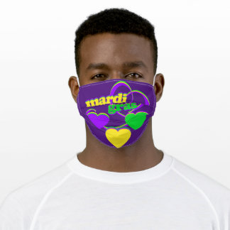 Purple Green Yellow New Orleans Mardi Gras Adult Cloth Face Mask