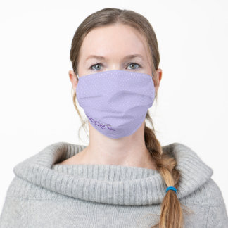 purple hope stitch text with needle adult cloth face mask