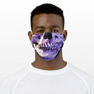 Purple Human Skull Face with Great Teeth Adult Cloth Face Mask