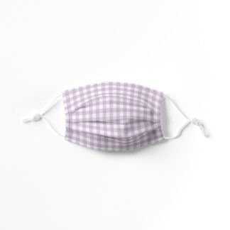Purple Lavender White Gingham Checkered Kids' Cloth Face Mask