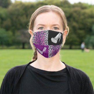 Purple Leopard Print & Diamond High Heels Adult Cloth Face Mask
