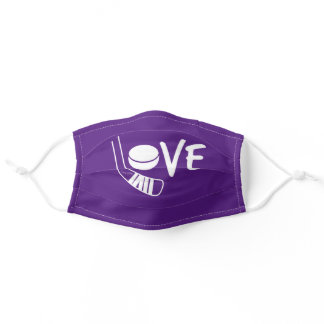 Purple Love Hockey Face Mask with stick and puck
