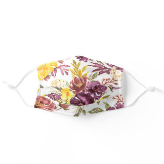 Purple Maroon Floral Watercolor Artwork Pretty Adult Cloth Face Mask