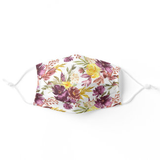 Purple Maroon Floral Watercolor Pattern Pretty Adult Cloth Face Mask