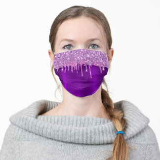 Purple metallic glitter drips pink monogram name adult cloth face mask