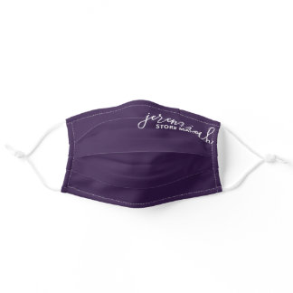 purple name tag and position title adult cloth face mask