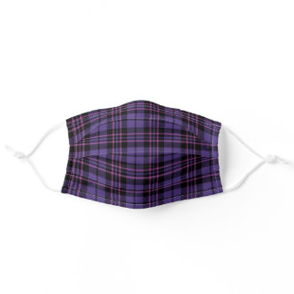 Purple Pink Black Plaid Pattern Adult Cloth Face Mask