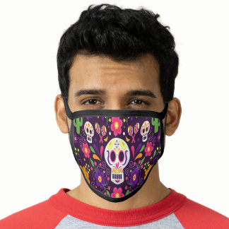 Purple Pink Floral Day Of The Dead Face Mask