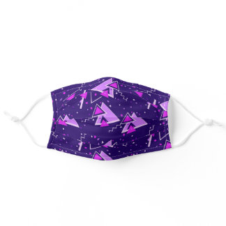Purple & Pink Retro Triangles Adult Cloth Face Mask