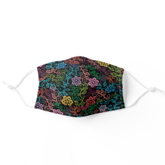 Purple Pink Turquoise Blue Black Paisley Floral Adult Cloth Face Mask