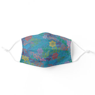 Purple Pink Turquoise Blue Green Paisley Art Adult Cloth Face Mask