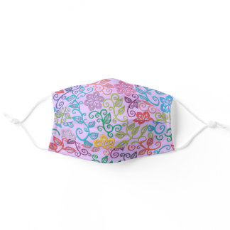 Purple Pink Turquoise Blue Green Paisley Floral Adult Cloth Face Mask