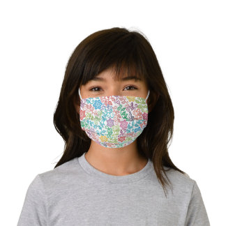 Purple Pink Turquoise Blue Green Paisley Floral Kids' Cloth Face Mask