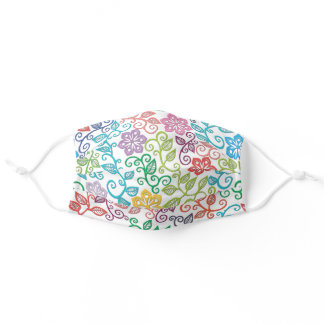 Purple Pink Turquoise Blue Green Paisley Vines Art Adult Cloth Face Mask