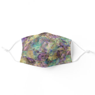 Purple Pink Turquoise Teal Blue Green Polygon Art Adult Cloth Face Mask