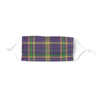Purple Plaid Mardi Gras  Green Gold Tartan Adult Cloth Face Mask