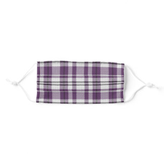 Purple Plaid Pattern Adult Cloth Face Mask