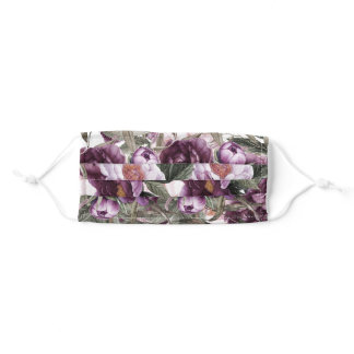 Purple, Plum, Pink Watercolor Peonies Adult Cloth Face Mask