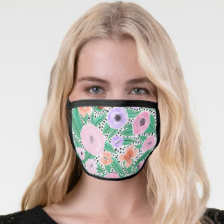 Purple Red Floral Polka Dots Watercolor Safety Face Mask