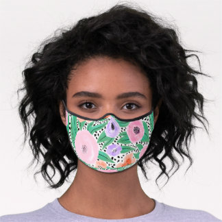 Purple Red Floral Polka Dots Watercolor Safety Premium Face Mask