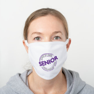 Purple Senior Distressed Badge White Cotton Face Mask