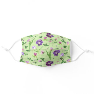 Purple Tulips Watercolor Pretty Pattern Adult Cloth Face Mask