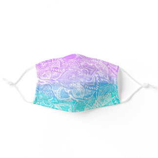 Purple turquoise mermaid watercolor floral lace adult cloth face mask