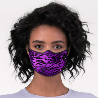 Purple Violet Amethyst Zebra Animal Skin Logo Name Premium Face Mask