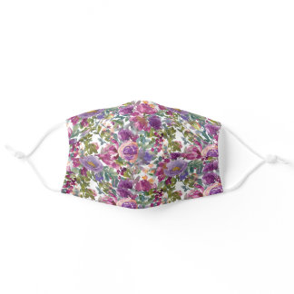 Purple Watercolor Floral Green Leaves Springtime Adult Cloth Face Mask