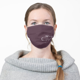 Purple Wedding Hearts Modern Calligraphy Adult Cloth Face Mask