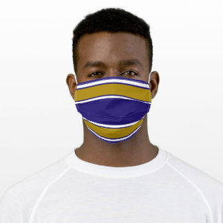 Purple, White and Gold Sports Stripe Adult Cloth Face Mask
