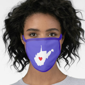 Purple White and Red Heart West Virginia Love Face Mask