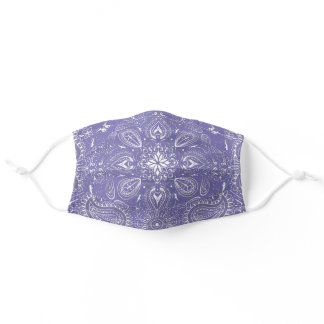 Purple, White Bandana Paisley Pattern Print Cool Adult Cloth Face Mask