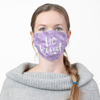 Purple White Be Kind Inspirational Quote Adult Cloth Face Mask