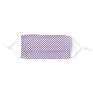 Purple White Gingham Plaid Adult Cloth Face Mask
