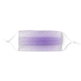Purple White Gold Hearts Adult Cloth Face Mask