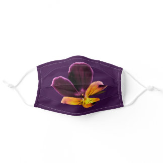 Purple Yellow Pansy Flower Cloth Face Mask