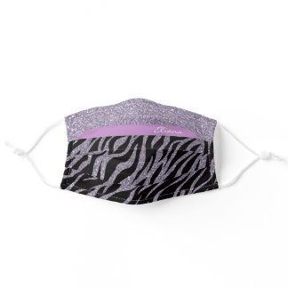 Purple Zebra Print Glitter Custom Name Beauty Adult Cloth Face Mask