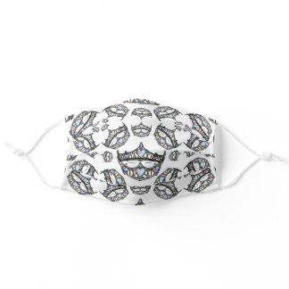 Queen of Hearts Silver Crown Tiaras white Adult Cloth Face Mask