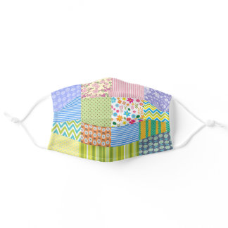 Quilt Patchwork Multi color fun pretty girly Adult Cloth Face Mask