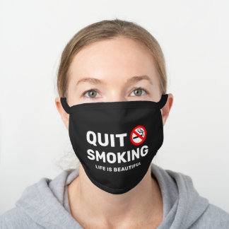 Quit Smoking Motivational Black Cotton Face Mask
