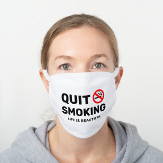 Quit Smoking Motivational White Cotton Face Mask
